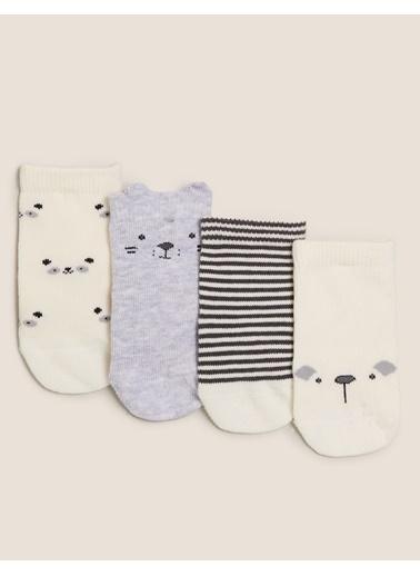 Marks & Spencer 4'lü Desenli Çorap Seti Gri